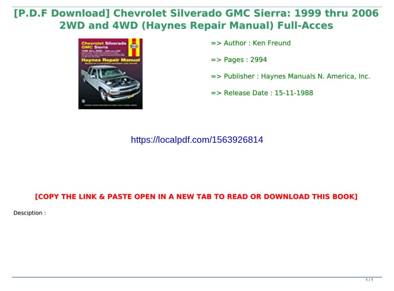 Automotive Professional & Technical 1999 thru 2006 2WD and 4WD ...