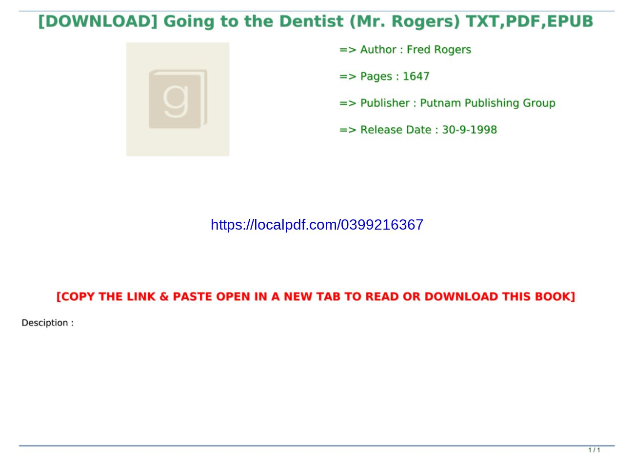 Best Pdf Going To The Dentist Mr Rogers Txt Pdf Epub Text Images Music Video Glogster Edu Interactive Multimedia Posters