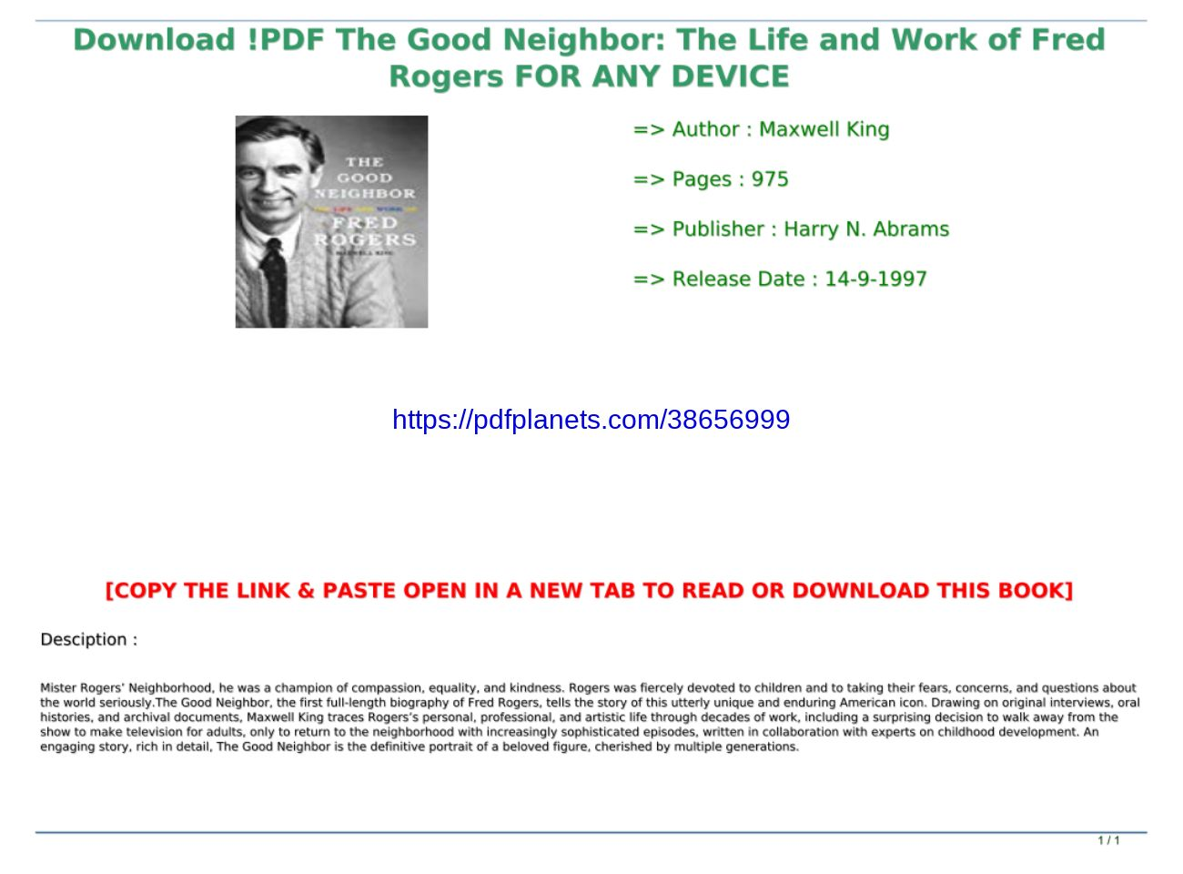 Download Pdf The Good Neighbor The Life And Work Of Fred Rogers For Any Device Text Images Music Video Glogster Edu Interactive Multimedia Posters