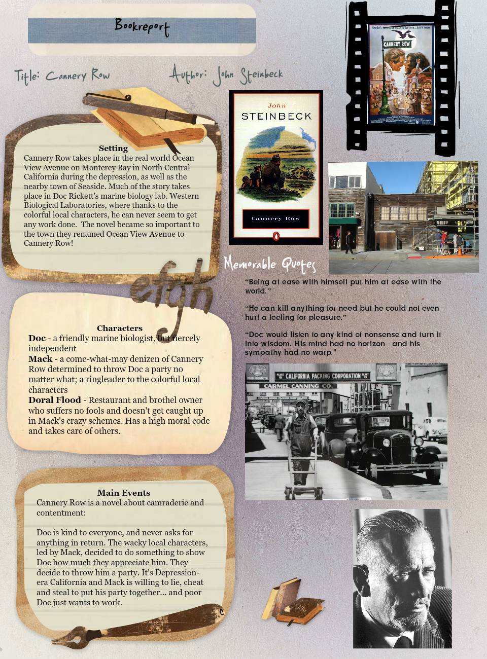 Book report Cannery Row