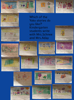 Writing About Yoko- Kindergarten Students with Mrs.Schnee and Mrs.Aday