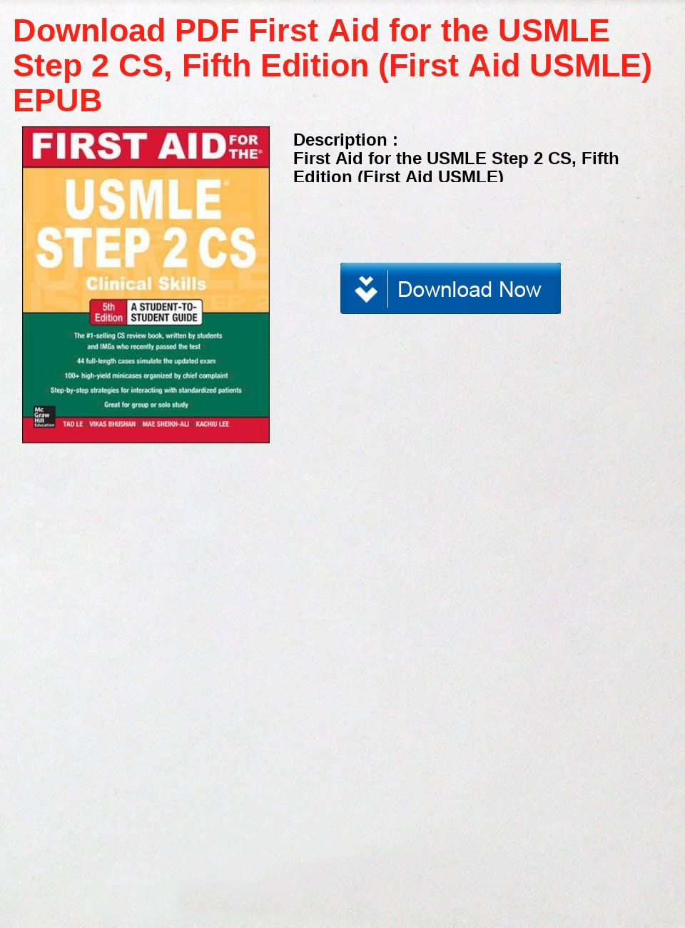 Download PDF First Aid for the USMLE Step 2 CS, Fifth