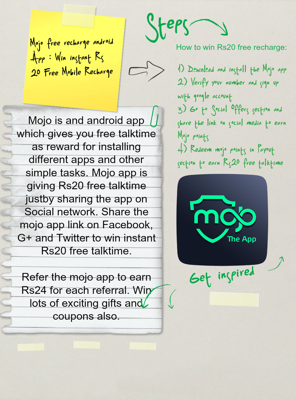 Mojo free recharge android App : Win instant Rs 20 Free