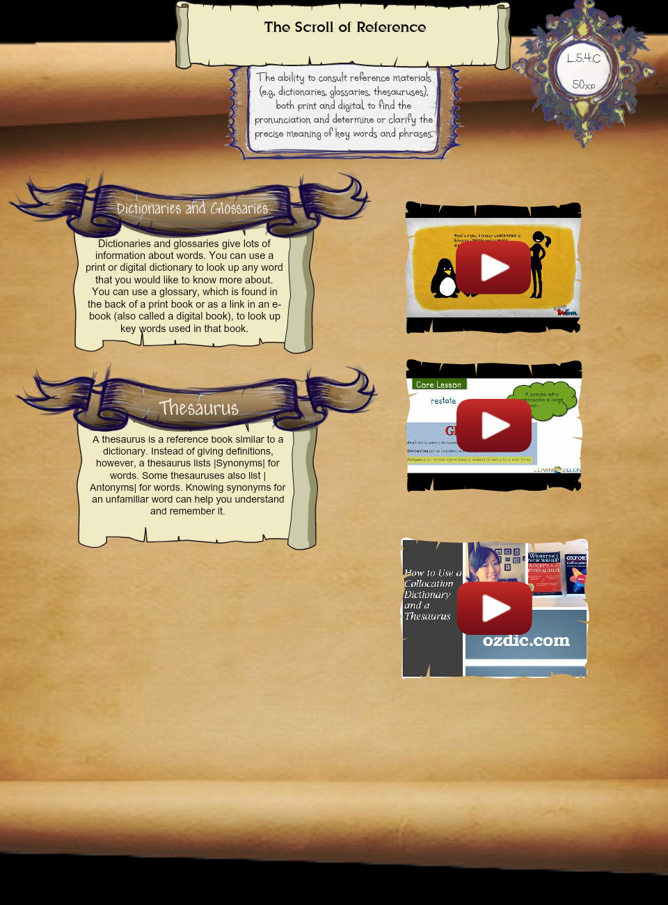 L 5 4 C) The Scroll of Reference: text, images, music, video